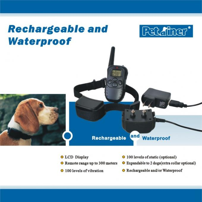 Rechargeable Durable Remote Pet Training Collar Waterproof 300m For 2 Dogs Training