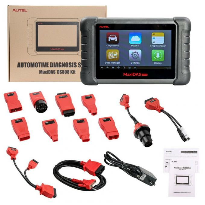 AUTEL MaxiDAS DS808 KIT Tablet Auto Diagnostic Tools Full Set Support Injector & Key Coding