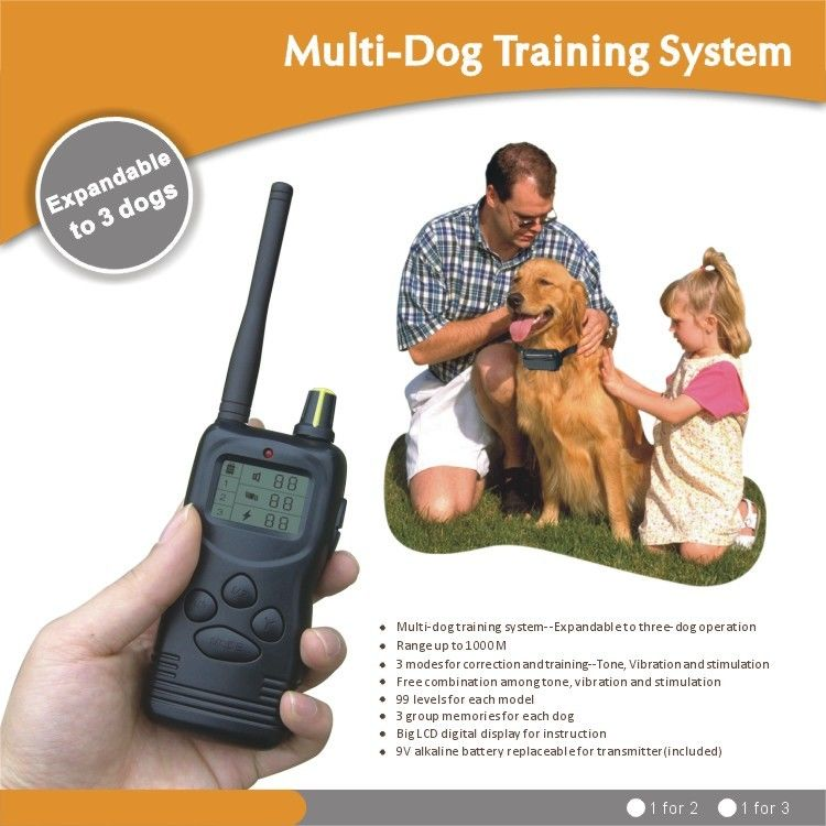 1000M LCD Remote Pet Training Collar For 2 Dogs With Static Shock / Vibration / Beep