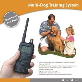 China 1000M LCD Remote Pet Training Collar For 2 Dogs With Static Shock / Vibration / Beep factory